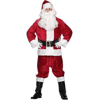 Smiffys Deluxe Santa Costume Hat Red Jacket Trousers Belt Gloves Boot Covers (Kostuums)