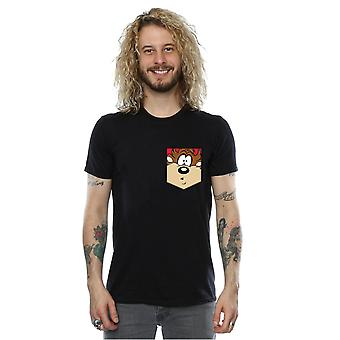 Looney Tunes Men's Tasmanian Devil Face Faux Pocket T-Shirt