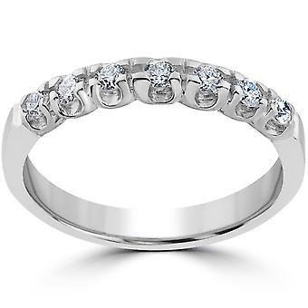 1/3ct Natural Diamond Wedding Ring Solid 14K White Gold Stackable Ladies Band