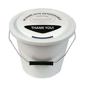 Charity Money Collection Bucket 5 Litres - White