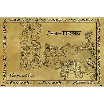 Game Of Thrones Antique Map Poster Poster Print