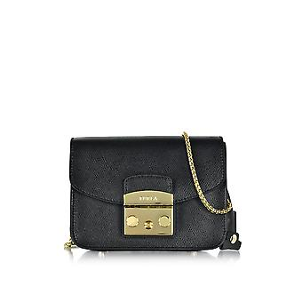 FURLA women's 747307ONYX black leather shoulder bag