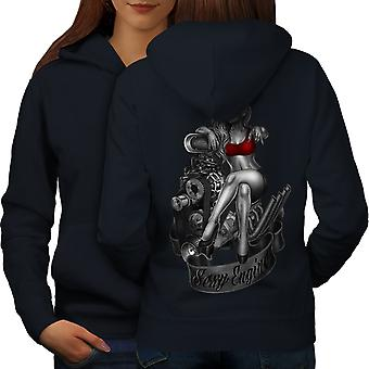Engineer Girl Engine Sexy Women NavyHoodie Back | Wellcoda