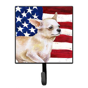 Carolines Treasures  BB9697SH4 Chihuahua Leg up Patriotic Leash or Key Holder