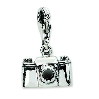 Sterling Silver Antique finish Fancy Lobster Closure Antiqued Camera With Lobster Clasp Charm - Measures 21x13mm