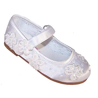 Infant white satin flower girl and occasion ballerina shoes