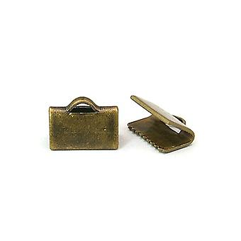 Packet 30 x Antique Bronze Brass Rectangle Ribbon Ends 7 x 10mm HA12905
