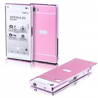 Aluminium bumper 2 pieces with cover Pink for Sony Xperia Z5 compact 4.6 inch