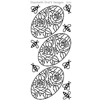 Roses In Ovals Peel-Off Stickers-Black