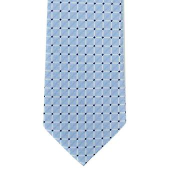 Michelsons of London Lattice Check Polyester Tie - Light Blue