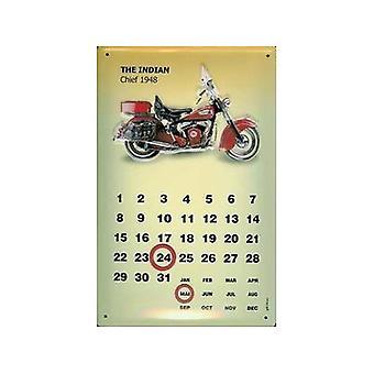 Indian Chief 1948 Everlasting Metal Wall Calendar