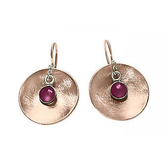 Gemshine - Panie - kolczyki - Kolczyki - 925 Silver - wzrosła pozłacane - miska - geometryczne - projekt - Ruby - Czerwony - 3 cm