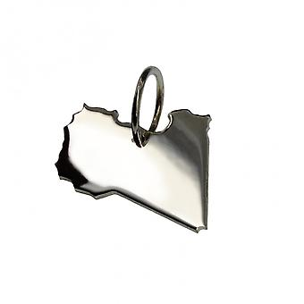 Trailer map Libya pendant in solid 925 Silver