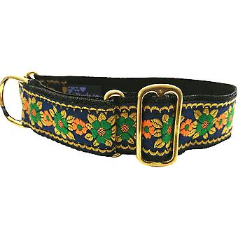 Dogcrafts Martingale 40mm Navy blauw oranje goud & groen Jacquard lint Brass hond kraag