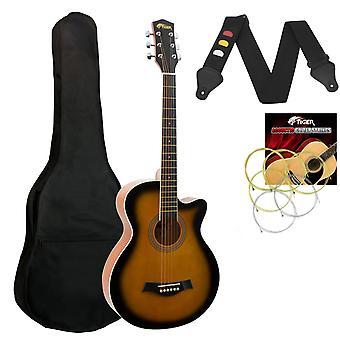 Tiger Small Body Acoustic Guitar for Beginners Guitar - Sunburst