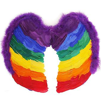 TRIXES Regenbogen Feder Engel Flügel Erwachsene Größe 55 x55cm Multicolor Fancy Dress Zubehör