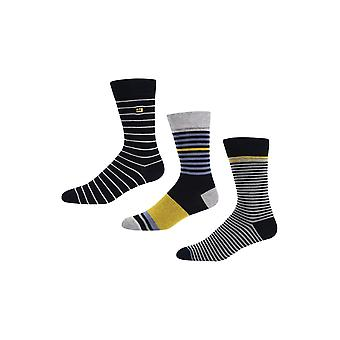Ben Sherman Men's 3 Pack Everyday Calf Socks Stripey Poolgrowran