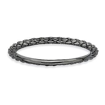 Sterling Silber poliert gemustert Criss Cross Ruthenium-Beschichtung stapelbar Ausdrücke schwarz verchromte Criss-Cross Ring - R