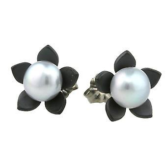 Ti2 Titanium grote bloem en Pearl Stud Earrings - zwart