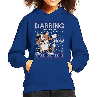 Dabbing を通して雪猫クリスマスニットパターンキッドのフード付きスウェットシャツ