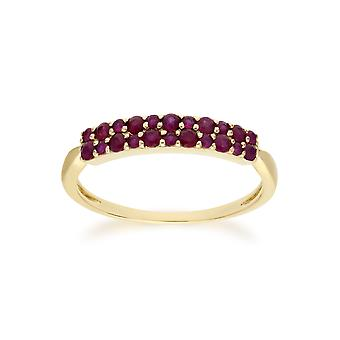 Gemondo 9ct Yellow Gold Ruby Cluster Panel Ring