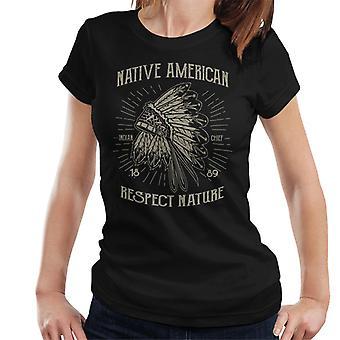Vintage indiansk respekt naturen 1889 kvinner t-skjorte