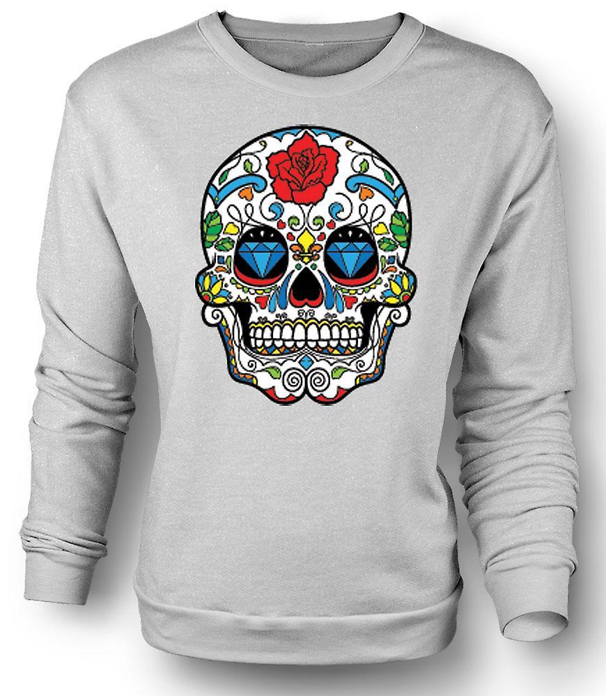 Mens Sweatshirt Mexican Sugar Skull - Dia De Los Muertos