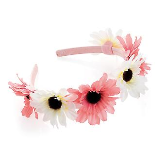 Girl's Two Tone Peach And Cream Flower Design Headband