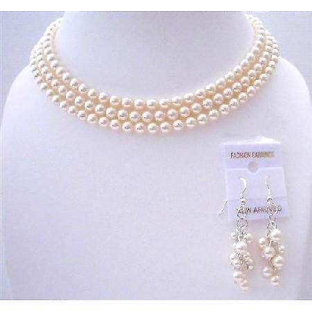Ivory Pearls 3 Stranded Necklace Swarovski Pearls Wedding Jewelry Set