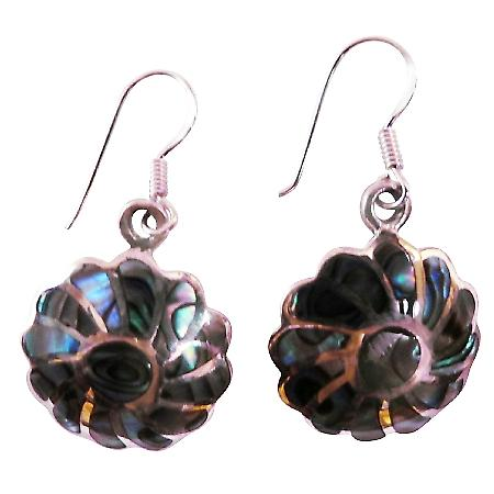 Rainbow Abalone Flower Earrings w/ Abalone shell Inlay Silver Stripe