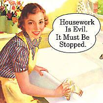 Housework is Evil funny drinks mat / coaster  (hb)