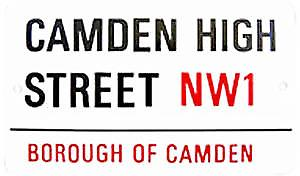 Camden High Street small enamel sign     (gg)