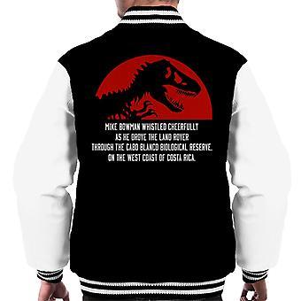 Must Read Opening Lines Jurassic Park Michael Crichton Men's Varsity Jacket