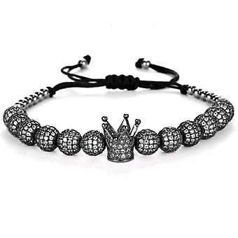 Bracelets-Crown and black beads