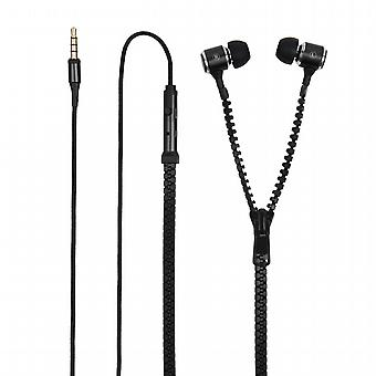 Headphones stereo black zipper 3, 5mm Universal (microphone and adapt.3, 5mm)