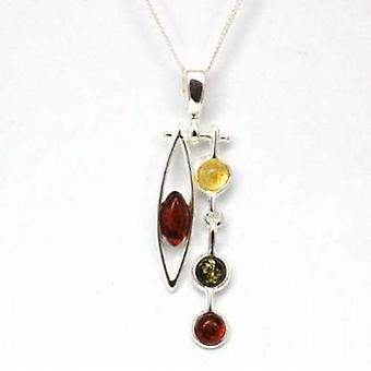 Toc Sterling Silver Chinese Style Amber Pendant on 18 Inch Chain