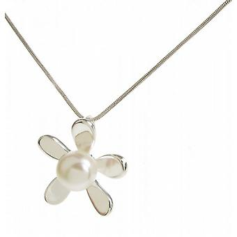 Cavendish French Sterling Silver and White Pearl Daisy Pendant without Chain