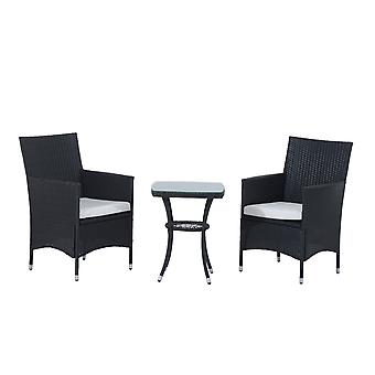 Outsunny Garden Outdoor Rattan Furniture Bistro Set 3 PCs Patio Weave Companion Chair Table Set Conservatory (Black)