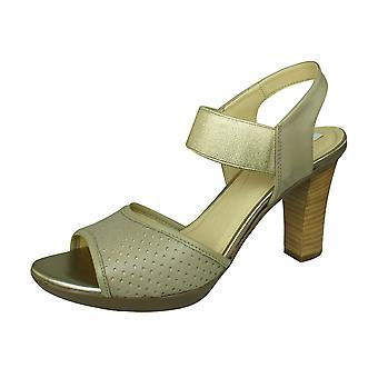 Geox D Jadalis C Womens Open Toe Heeled Leather Sandals - Sand