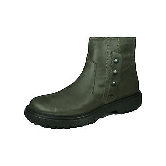 Geox D Asheely B Womens Wax Leather Ankle Boots - Dark Grey