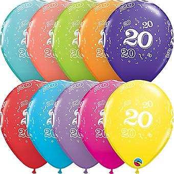 Qualatex 11 Inch Assortment Tropical Aged 20 Latex Balloons (Pack Of 6)