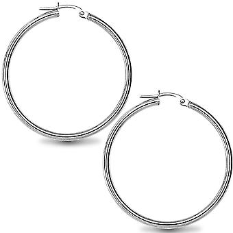 Jewelco London Sterling Silber poliert Creolen - 2mm - 3,5 cm