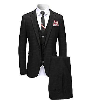 Allthemen Mens 3 Pieces Casual Slim Fit Striped Suit Blazer&Vest&Pants