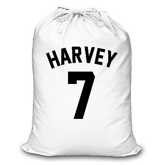 White Laundry Bag Personalised Football Shirt Style Storage Organisation Home Bedroom Son Daughter Washing
