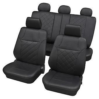 Sort kunstlæder luksus bil sædebetræk sæt til Volkswagen POLO 2001-2009