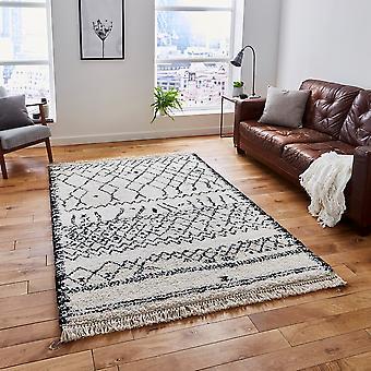 Boho 5402 musta valkoinen suorakulmion mattoja tavallinen/lähes pelkkää matot