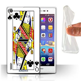 STUFF4 Gel/TPU Case/Cover for Huawei Ascend P7 LTE/Queen of Clubs/Playing Cards
