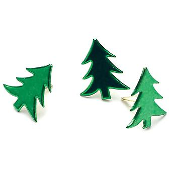 Painted Metal Paper Fasteners 50 Pkg Metallic Green  Trees Ci90641