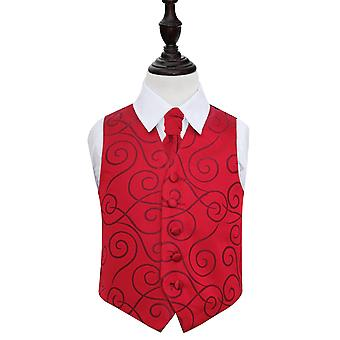 Boy's Burgundy Scroll Patterned Wedding Waistcoat & Cravat Set