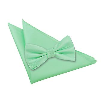 Mint Green Solid Check Bow Tie & Pocket Square Set